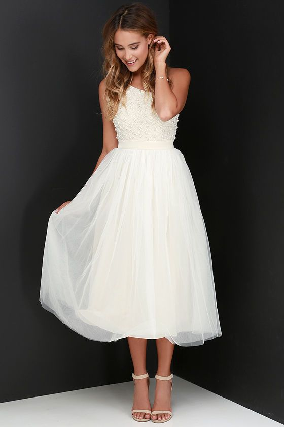 Glamour Cream Beaded One Shoulder Dress At Lulus