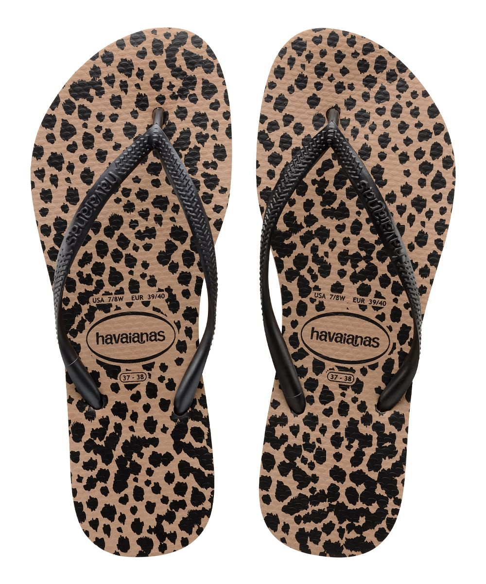 86d2d36f86475c Rose Gold   Black Animals Slim Flip-Flop - Women