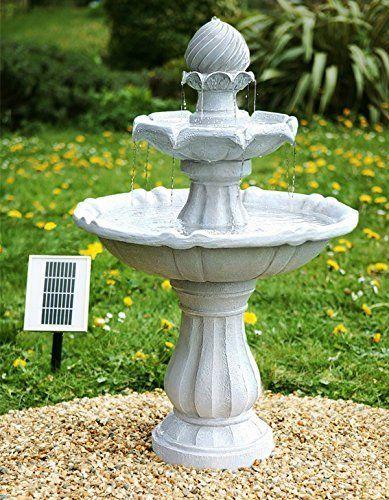 Small Solar Ed Water Feature Grey Resin Clical Tiered Birdbath Fountain Imperial Design Outdoor Garden