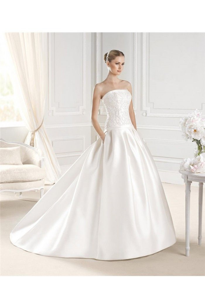 Royal Ball Gown Strapless Drop Waist Satin Lace Wedding Dress With ...