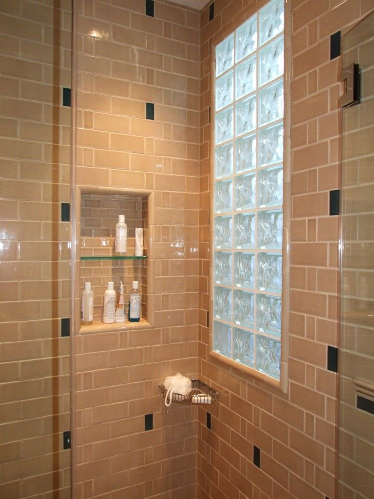 Remodel Bathroom With Window In Shower shower windows | tiled shower and niche with glass block window