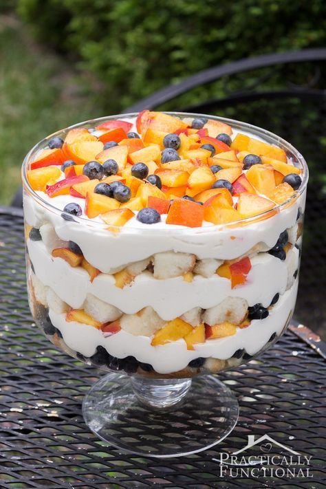 Summer Peach Blueberry Trifle is part of Summer trifle recipes - Need the perfect, refreshing summer dessert  Check out this summer peach blueberry trifle recipe! Trifles are quick and easy to put together, plus they don't require any cooking skills; all you need to do is cut and layer fruit, cream, and cake! Easy peasy!