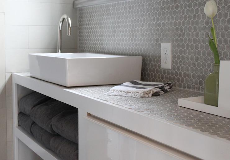 Contemporary Gray Bathroom With West Elm Hammam Striped Hand Towel And Fluffy Charcoal Gray Bath Penny Tile Backsplash Penny Tiles Bathroom Bathroom Backsplash
