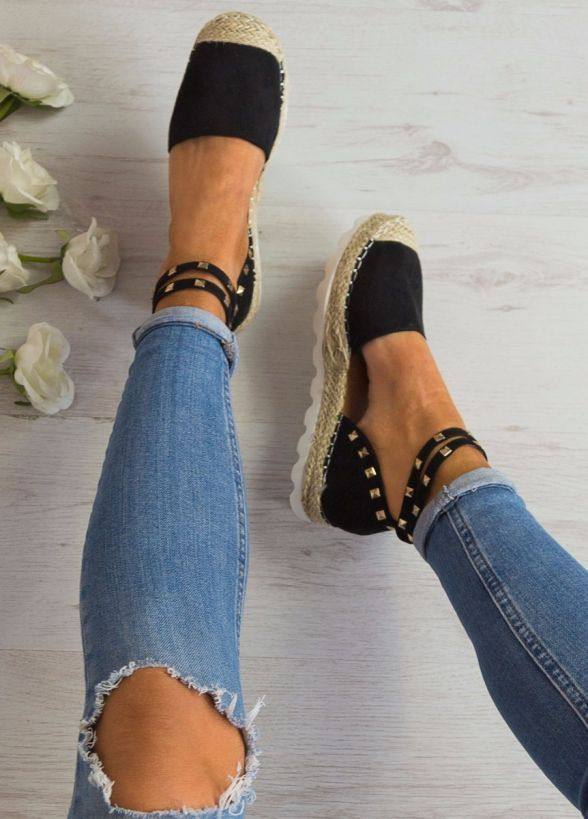 Loyalty Studded Espadrilles In Black