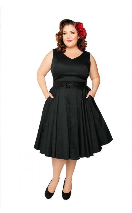 711df0d38697a Pinup Couture- Havana Nights Dress in Black Sateen - Plus size ...