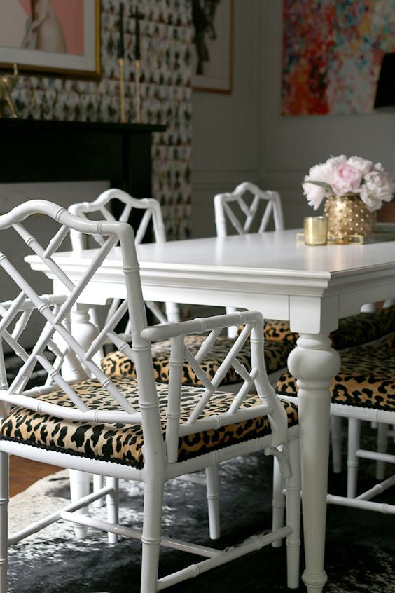 Chinese Chippendale Reminiscent Of Our White Dining Table From Magnolia Home And Hot Pink Chairs With Black Seat Cushions