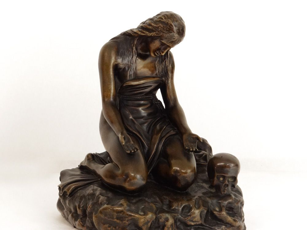 """""""Mary Magdalena in The Vanity"""" signed De Braux, #19thcentury. Stunning sculpture #goldenbrown patinated #bronze depicting Mary Magdalena in Vanity, her hair loose, her eyes looking down and her hands facing the sky in an act of penance. For sale on Proantic by Luc de Laval Antiquités."""