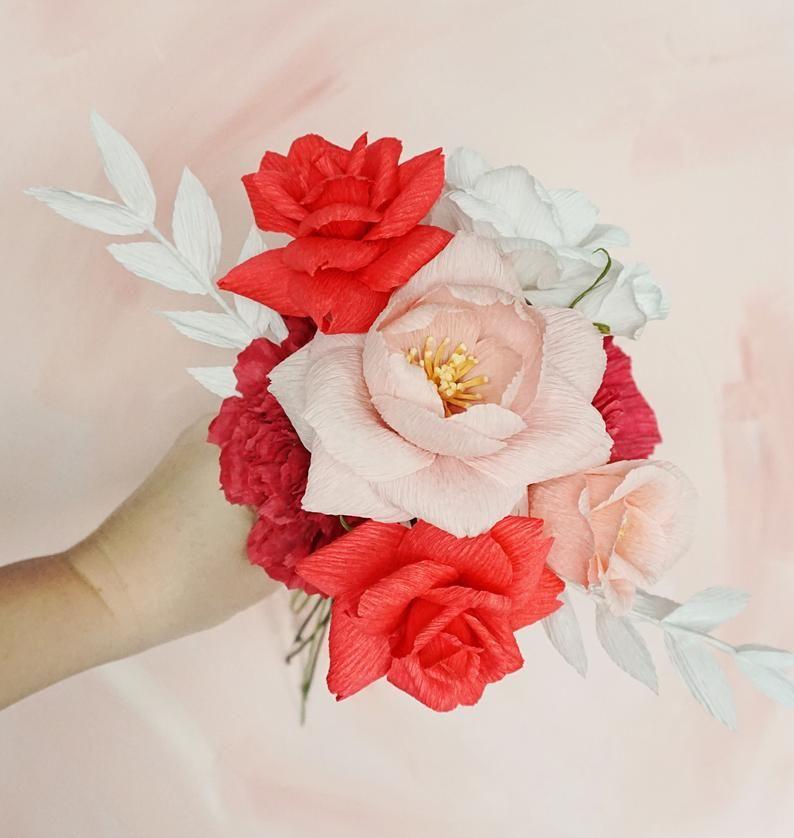 Valentine S Sale Modern Pink Red Paper Flower Bouquet Paper