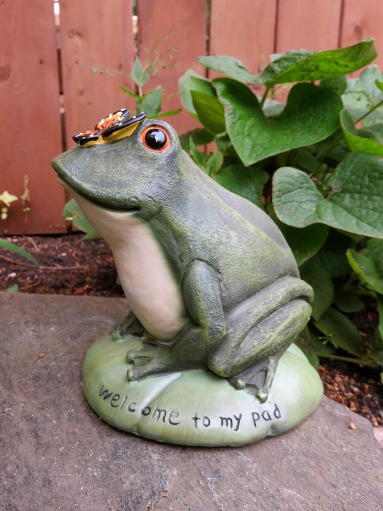 Garden Frog With Saying Statue Yard Figurine Lawn Ornament New Resin 6.5  InT Ne