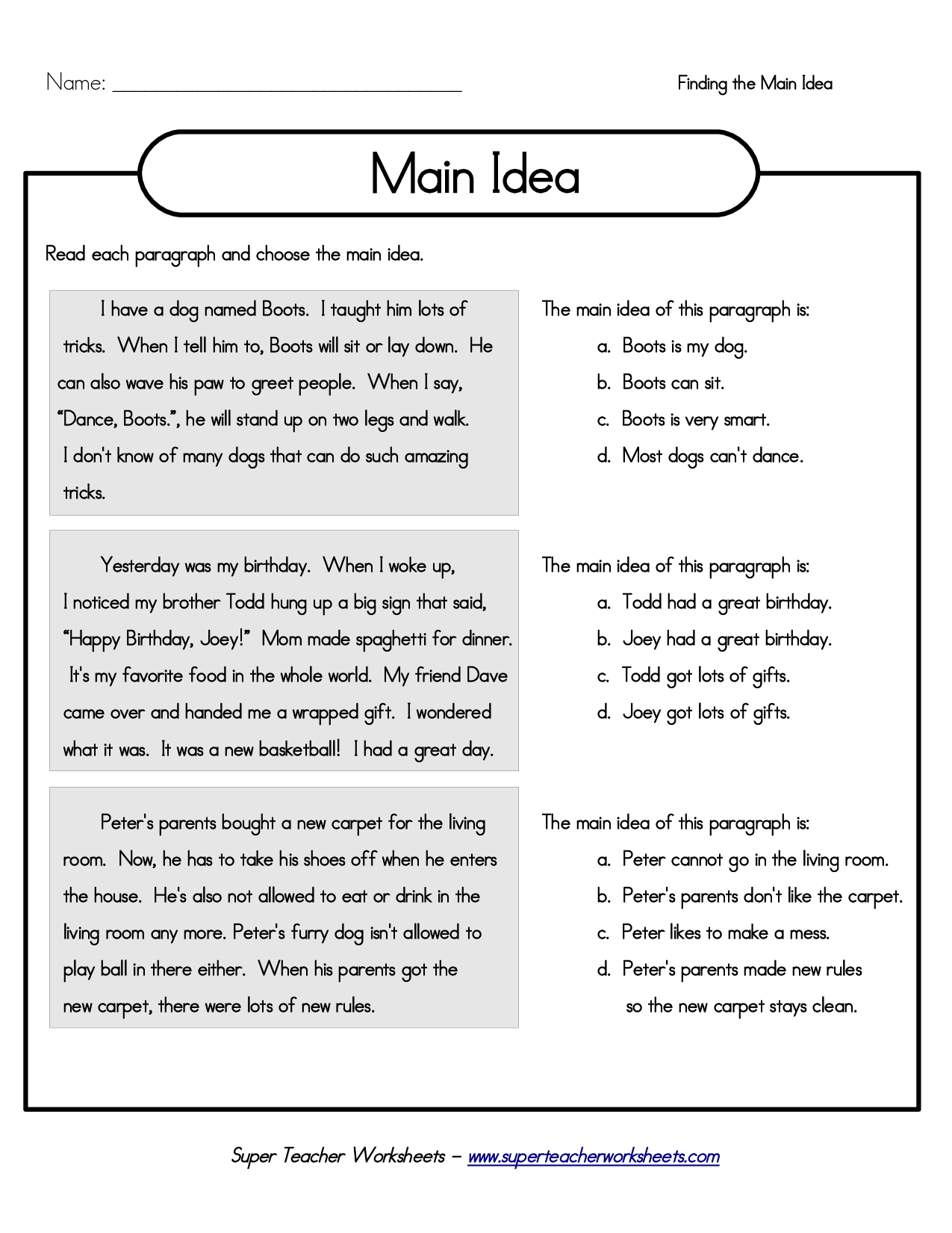Main Idea Worksheet – Main Idea Worksheet