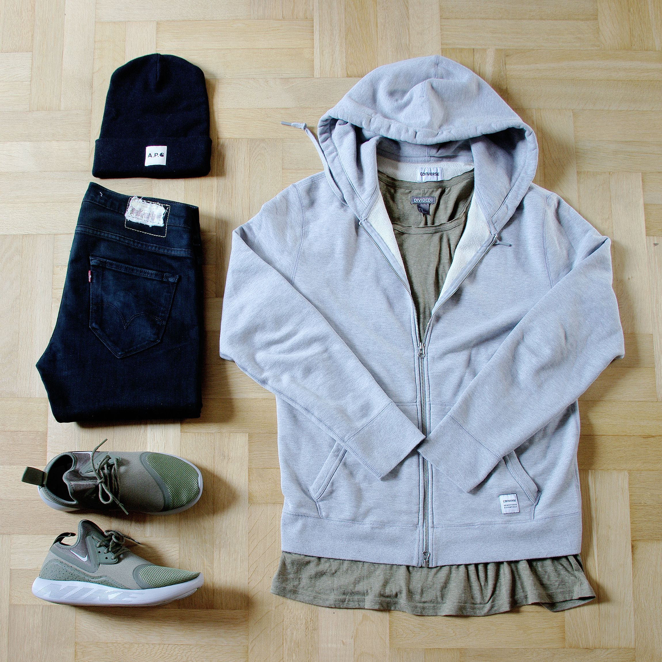 more photos 6d434 6f0e4 Outfitgrid - Converse hoodie  HM tee  Levis jeans  Carhartt WIP x APC  beanie  Nike LunarCharge shoes