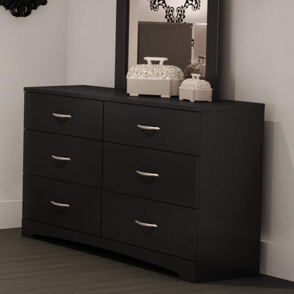 South Shore Step One 6 Drawer Pure Black Dresser 3107010 The Home Depot Furniture Furniture Deals Long Dresser [ 1000 x 1000 Pixel ]