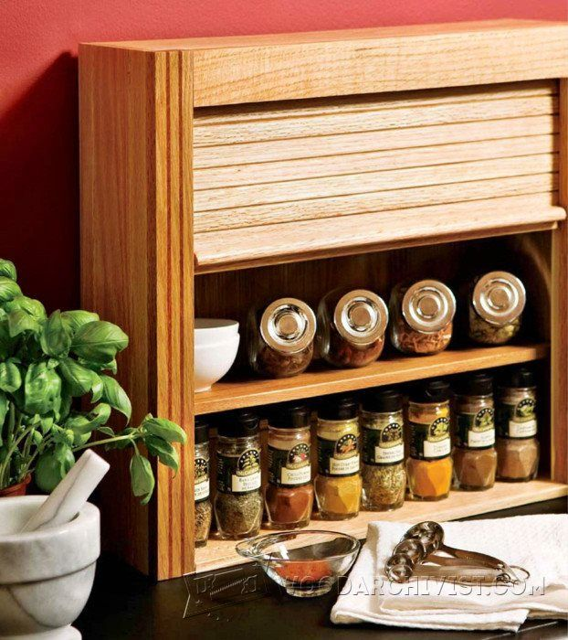 Wall Mounted Wooden Spice Rack Plans: Woodworking Plans And Projects
