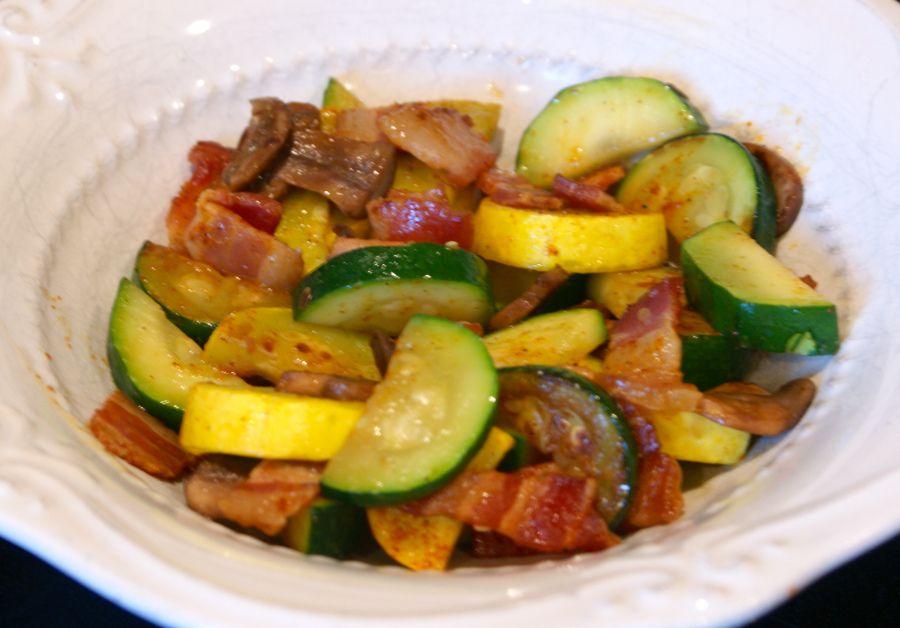 Eggless-zucchini, squash, mushroom and bacon