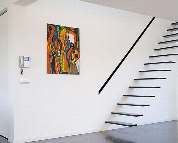 schwebende treppe ideen holz ausstattung minimalistisch, Wohnideen design