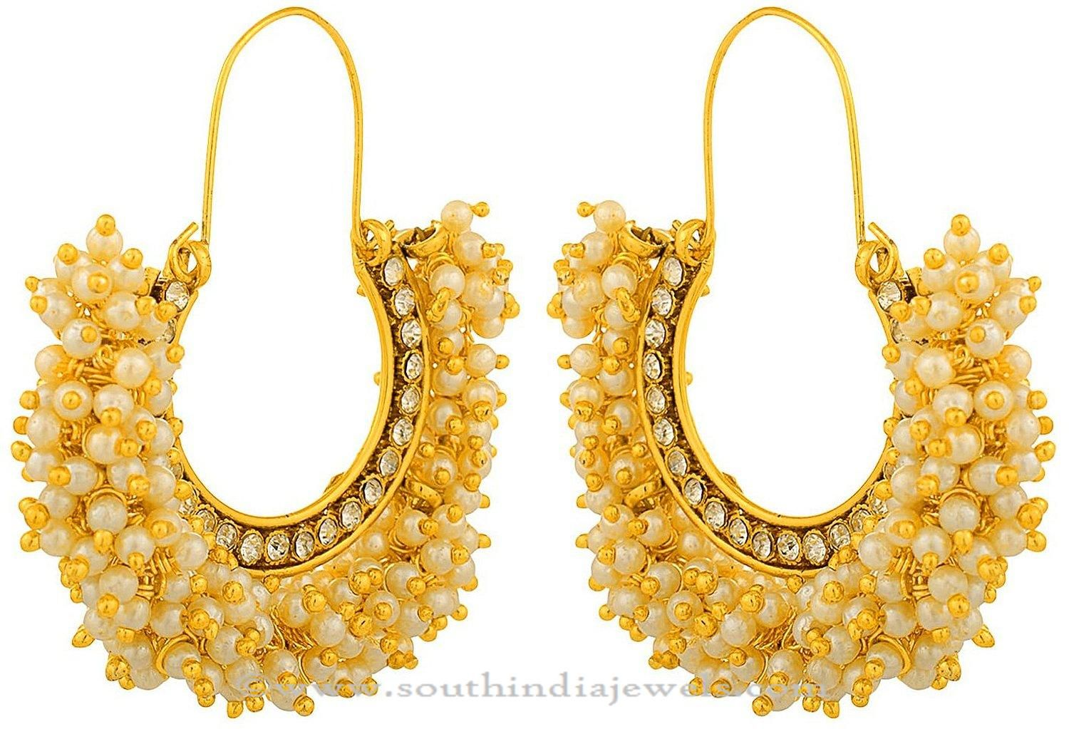 Gold Plated Pearl Hoop Earrings | Pearls, Gold and Indian jewelry