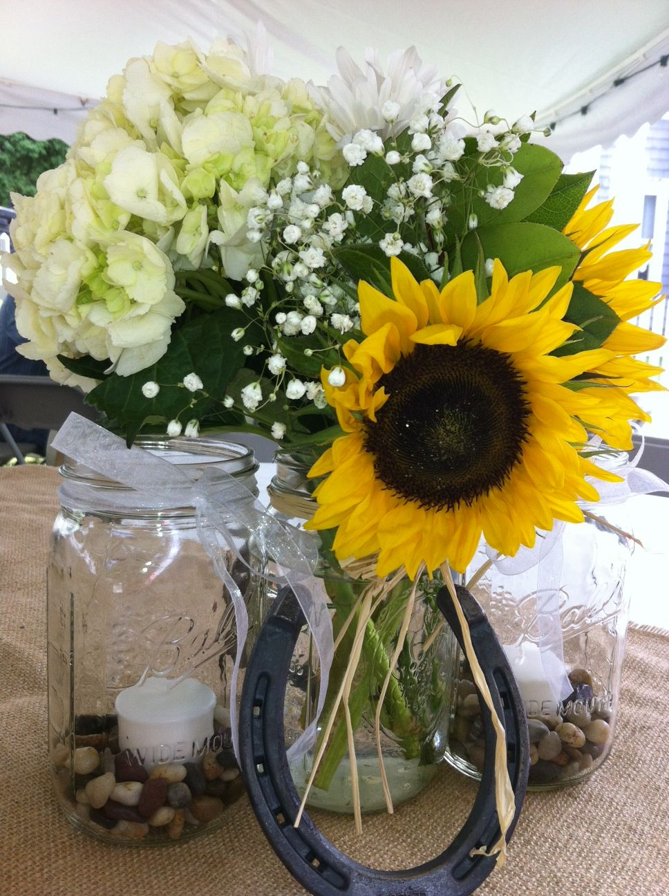 Burlap sunflowers and horseshoes elegant country