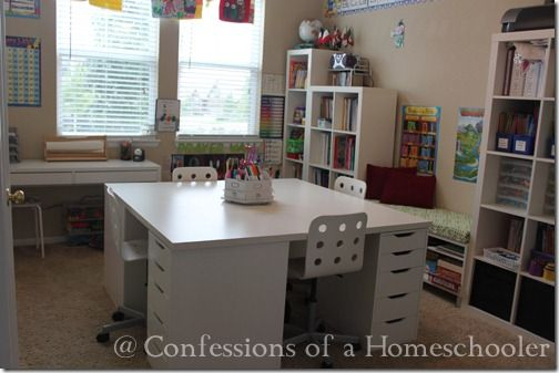 Homeschool Desk for 4 students.  Love this whole room!  Great inspiration ideas....