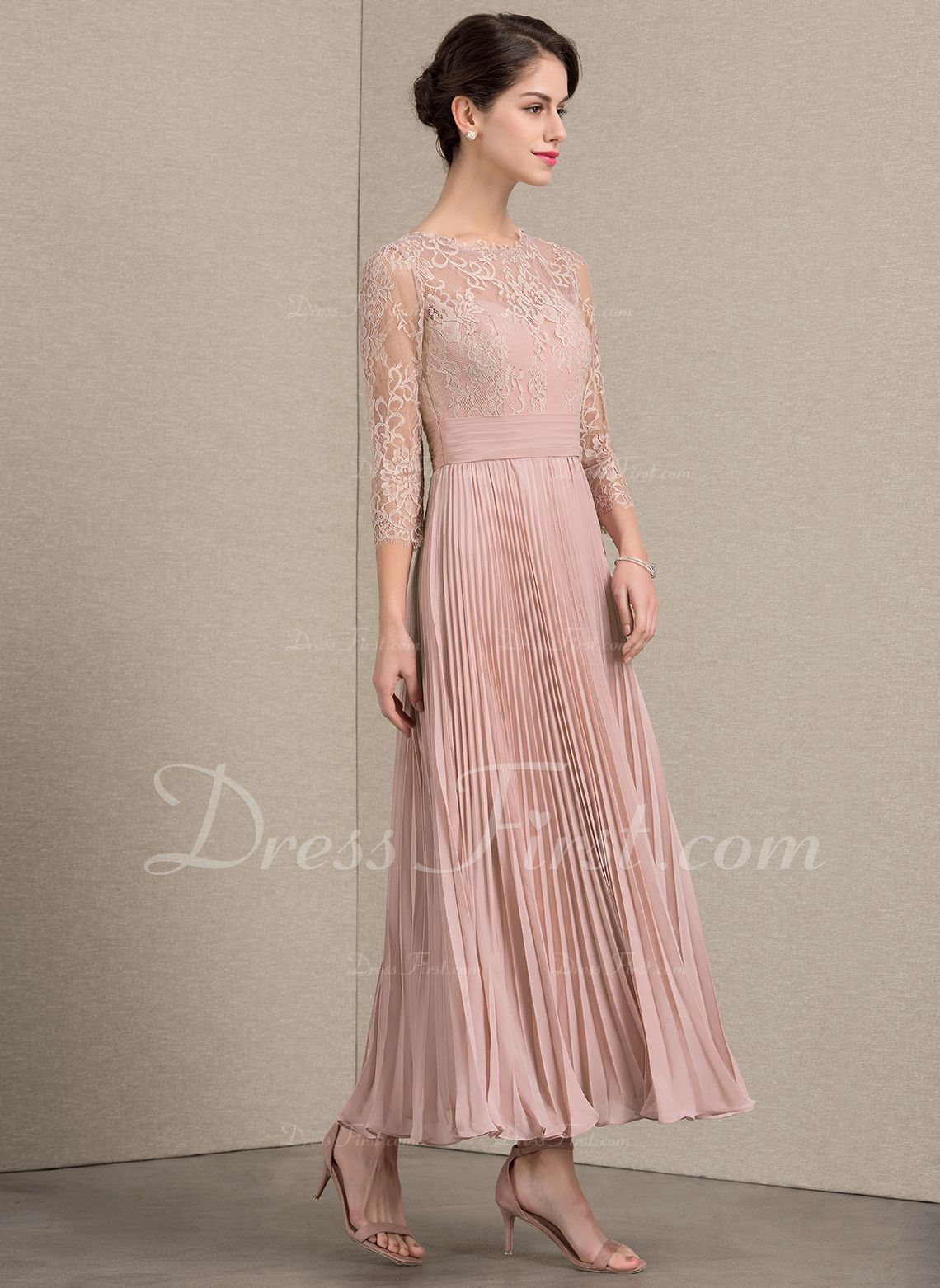 990ea5af70bf A-Line Princess Scoop Neck Ankle-Length Chiffon Lace Mother of the Bride  Dress With Pleated (008143377) - Mother of the Bride Dresses - DressFirst