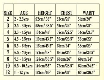 Child Waist Sizes  This Is The Size Chart For Little Wings