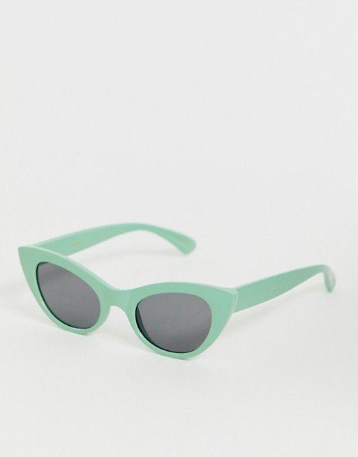 62ddb453f1 Mango oval cateye sunglasses in green in 2019 | ASOS | Cat eye ...
