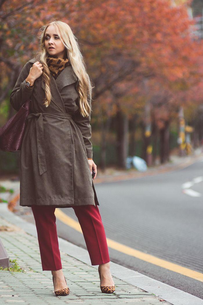 4ccd3309180 Olga Choi fashion blogger South Korea myblondegal elegant smart chic Tommy  Hilfiger khaki suede trench coat Romwe tassel suede top Kooding wine pants  ...