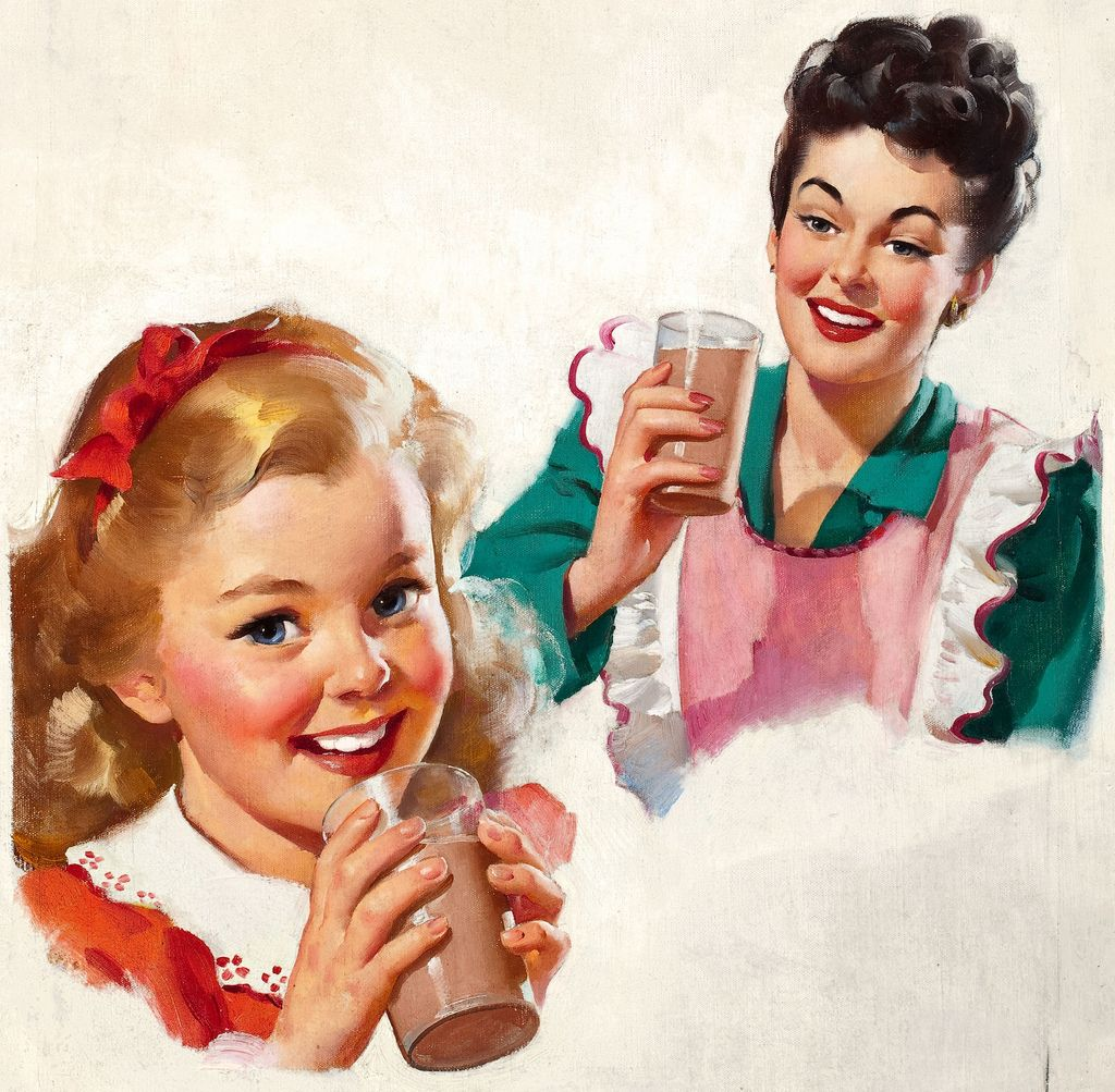 2019 Vintage Pinup Girl Gil Elvgren Hand Painted Art Oil: Gil Elvgren Illustration In The Kitchen Having Chocolate