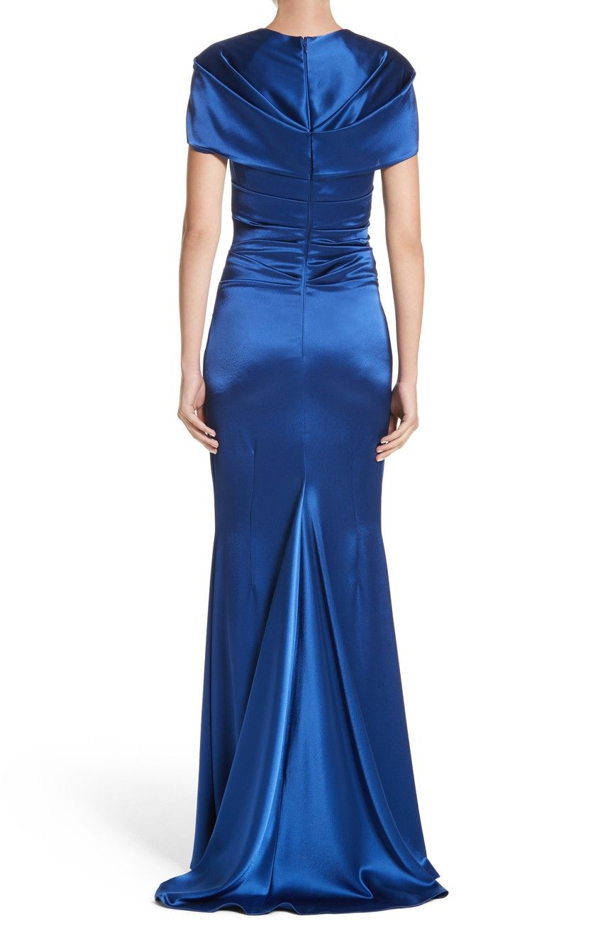 Talbots dresses for weddings  Main Image  Talbot Runhof Pleated Satin Mermaid Gown  Formal wear