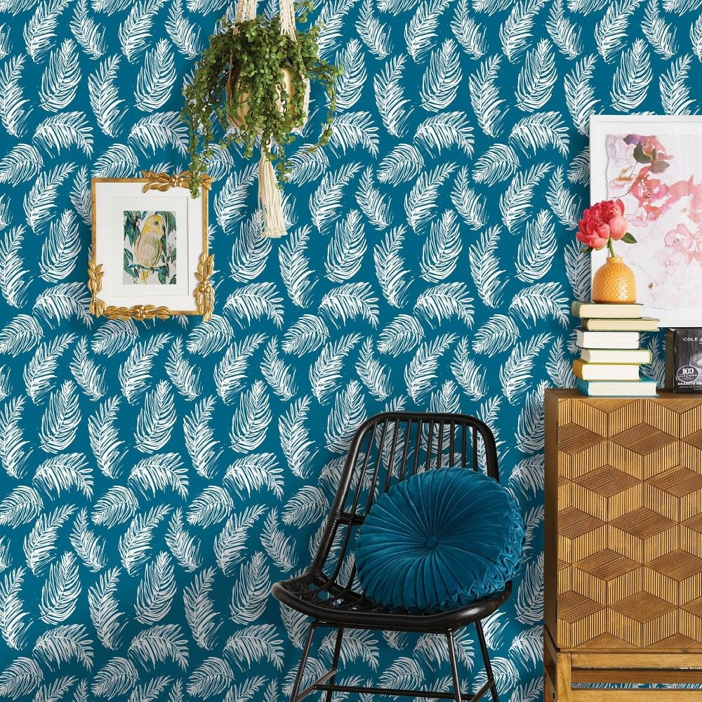 Sketched Palm Peel Stick Wallpaper Blue Opalhouse Accent Walls In Living Room Peel And Stick Wallpaper Target Wallpaper