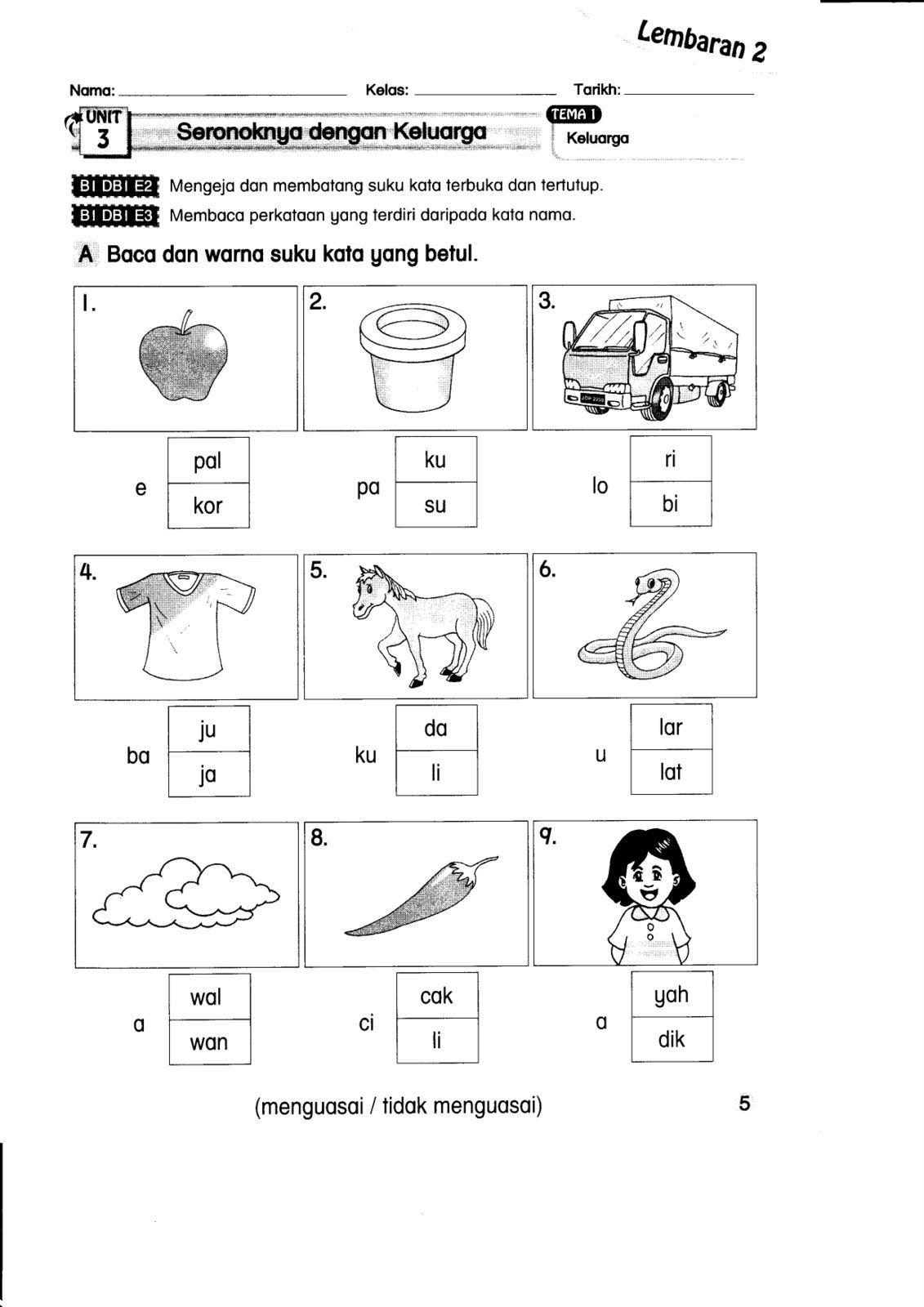 Lembaran Kerja Bahasa Melayu Prasekolah 6 Tahun