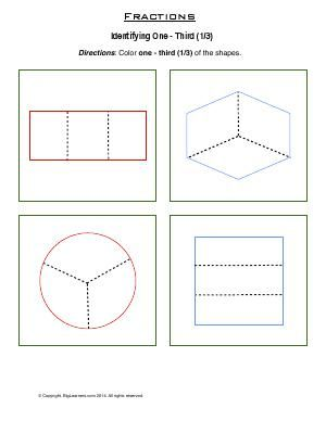 Worksheet Fraction One Third (1/3) Color one third