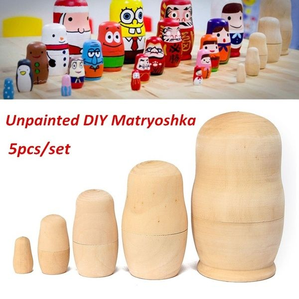 5x Unpainted DIY Blank Wooden Embryos Russian Nesting Dolls Matryoshka Gift Toy