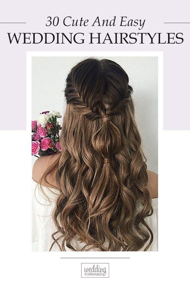 Easy Wedding Hairstyles You Can Diy Wedding Forward Diy Wedding Hair Wedding Hair Down Glamorous Wedding Hair