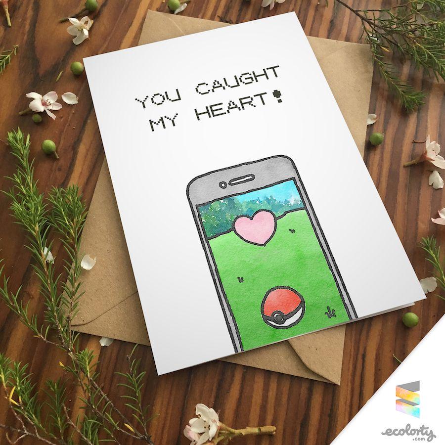 Pokemon greeting card heart pokeball go pun