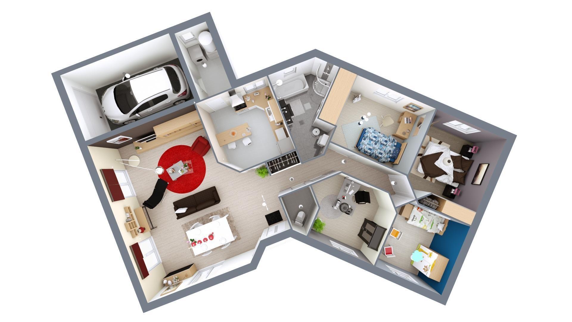 Modèle de maison Floride | Maison mca, Plan maison 3d, Maison en v