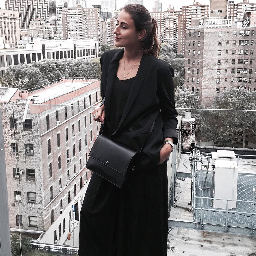 German blogger, Julia Haghjoo, during New York Fashion Week in Samsøe & Samsøe Syon dress.