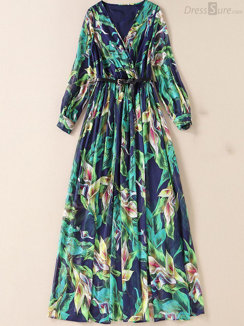 Fashion vneck long sleeve floral print maxi dress Красота