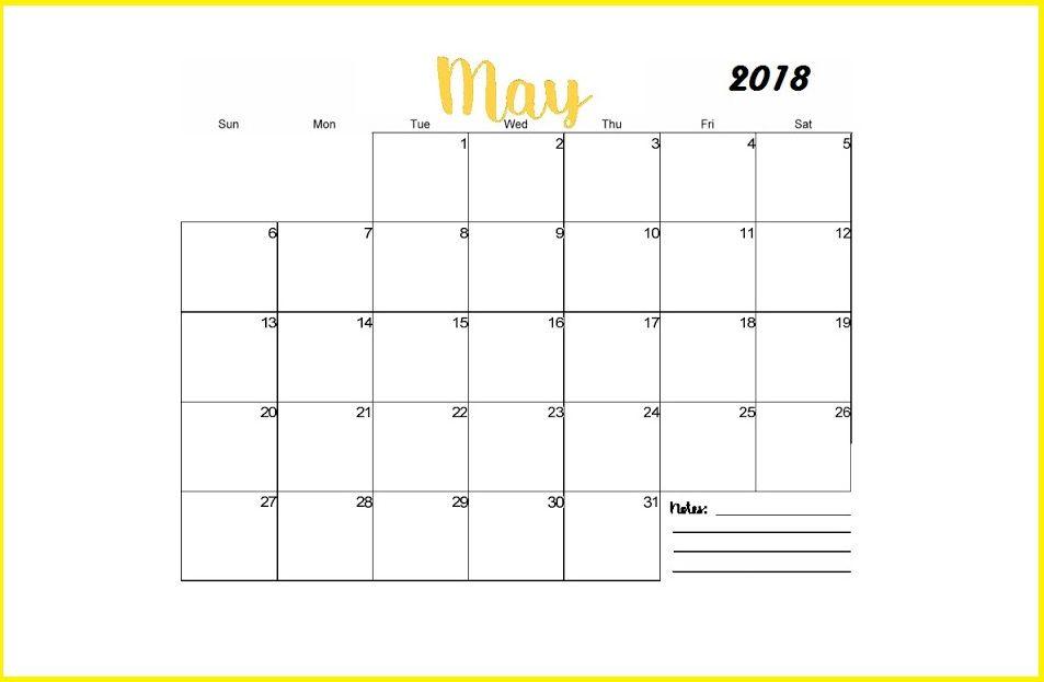 Free May 2018 Calendar Editable Calendar 2018 Pinterest