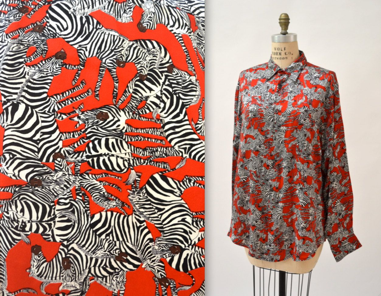 08bec955 90s Zebra Animal Print Nicole Miller Silk Shirt Size Medium Large// Black  White and Red Silk Shirt Blouse with Zebras by Hookedonhoney on Etsy