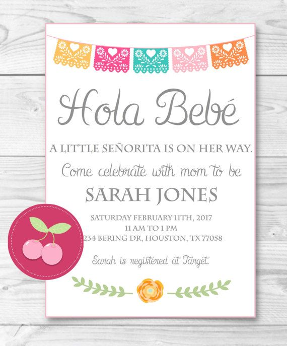 Baby Shower Invitations In Spanish : shower, invitations, spanish, Mexican, Shower-bebe, Spanish, Shower, TheCherryOnTopper, Shower,, Invitations,, Fiesta