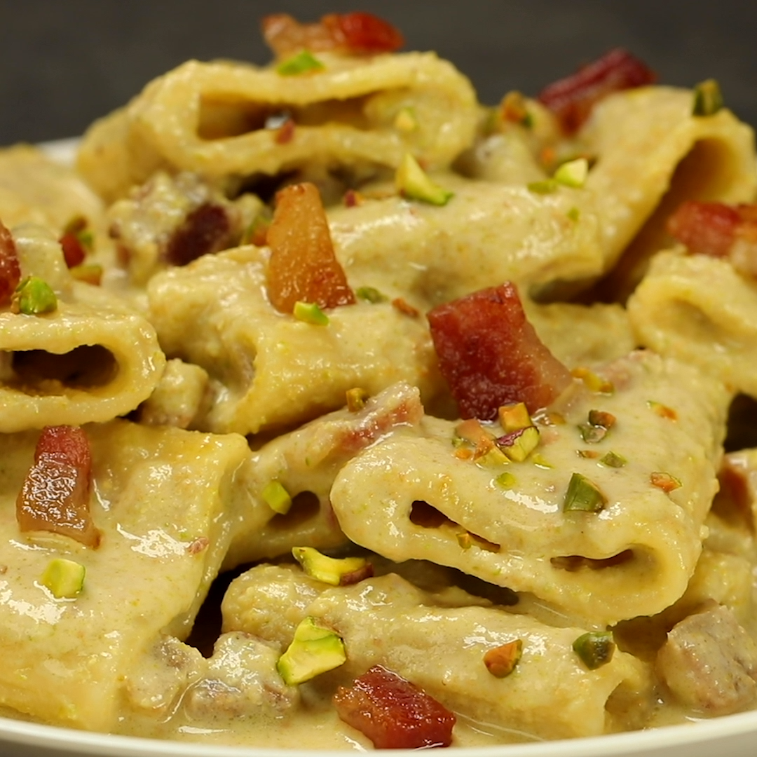 Photo of Paccheri with burrata cream and pistachios with crispy bacon