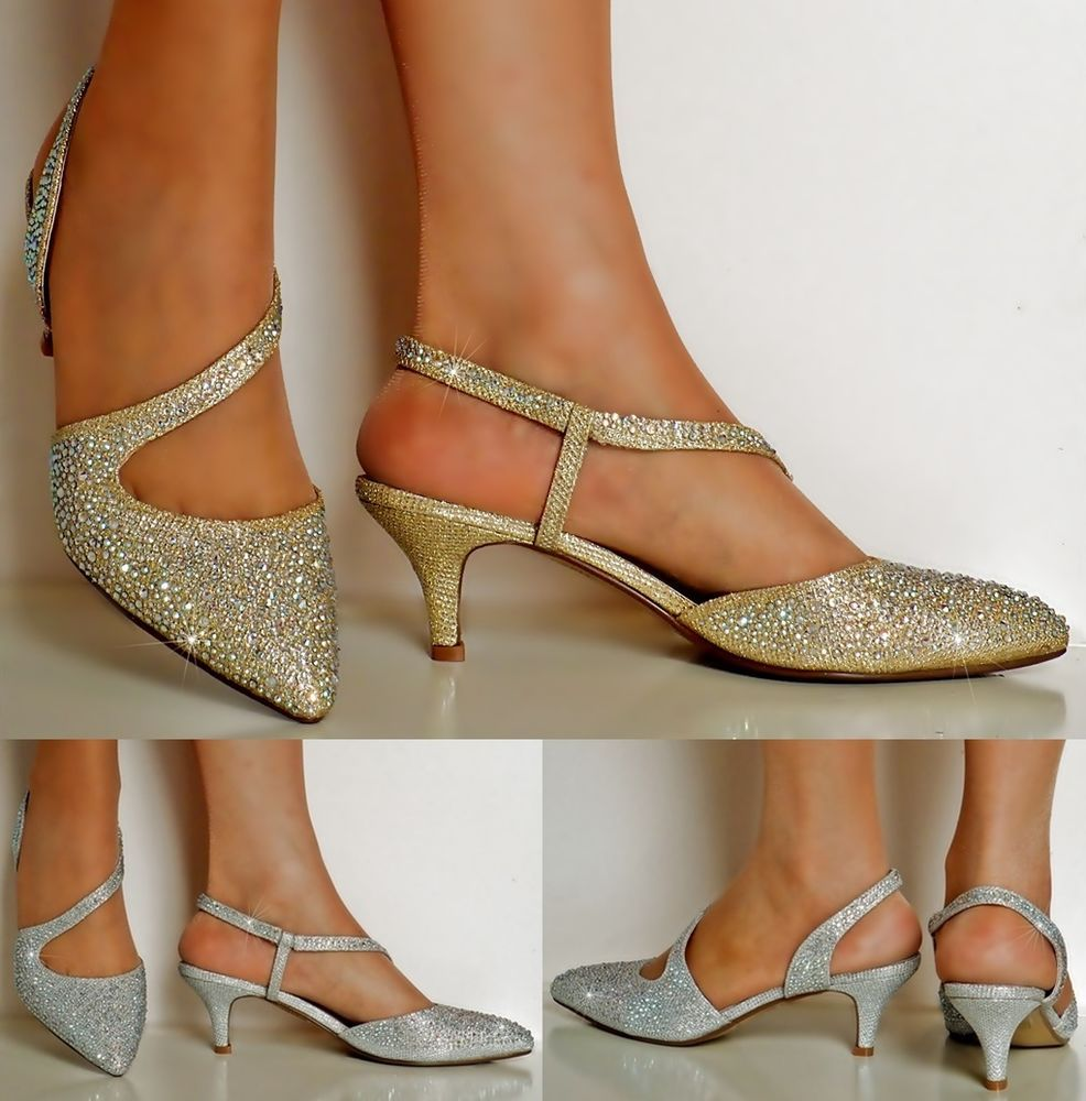 3a00ec63c22 NEW Ladies Diamante Gold Silver Party Evening Low Kitten Heel Court Shoe  Size