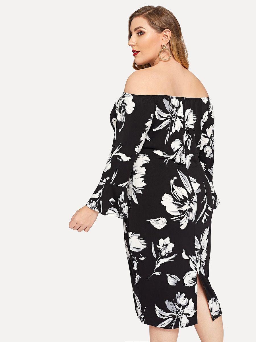 b5d69868b0 Plus Off Shoulder Floral Dress -SHEIN(SHEINSIDE) | Shein in 2019 ...