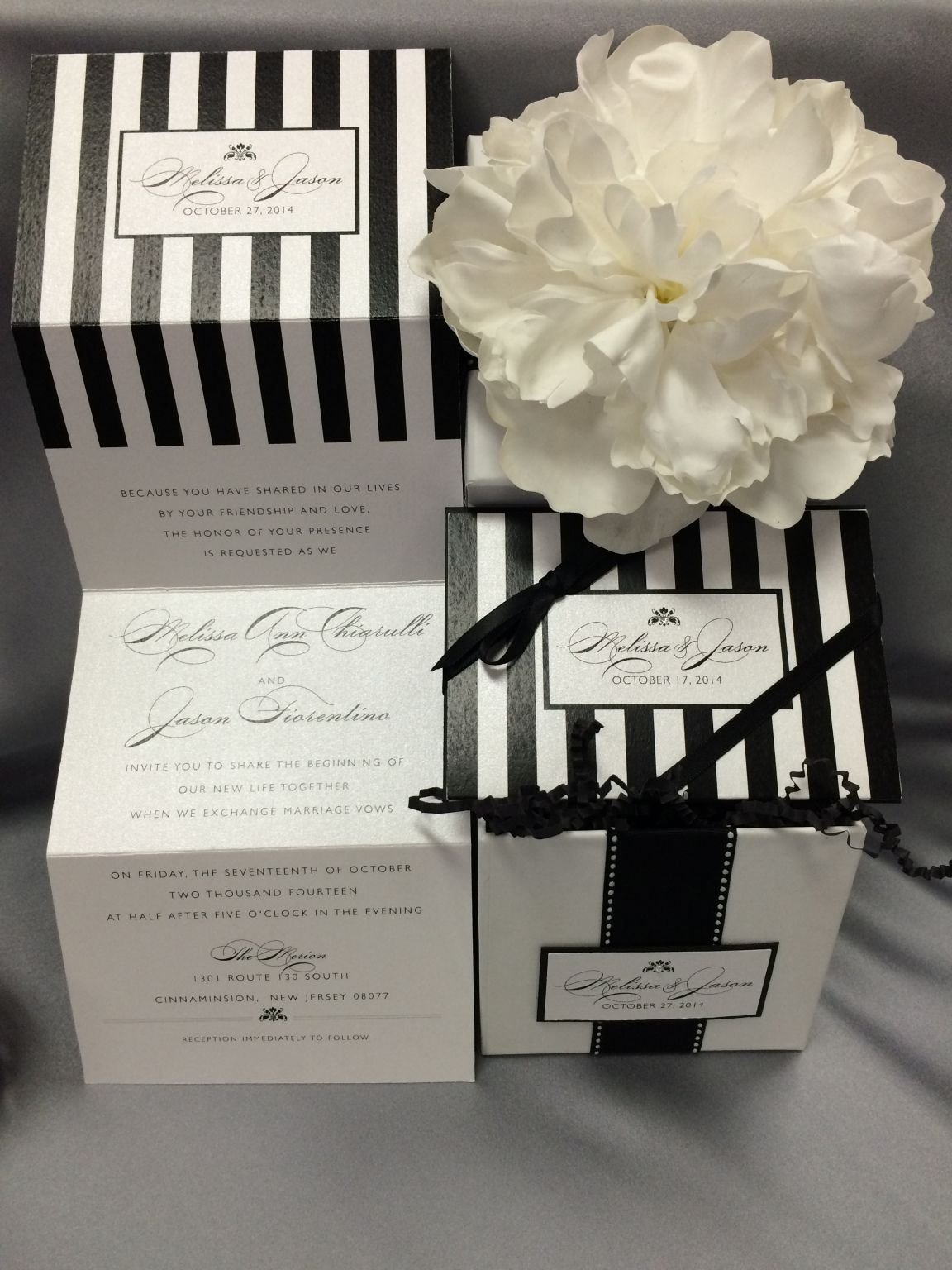 Featured Wedding Invitation Design Black And White Striped Gift Box By Tangé 2