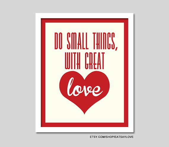 do small things with great love - love quote wall art, love print, cream and red, 8x10 love print, 8x10 quote, heart print