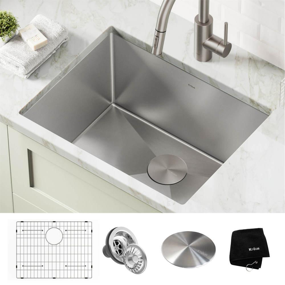 Kraus Standart Pro 24 In X 18 5 In X 12 In 16 Gauge Undermount Single Bowl Stainless Steel Laundry And Utility Sink Khu101 24l The Home Depot Sink Utility Sink Laundry Sink