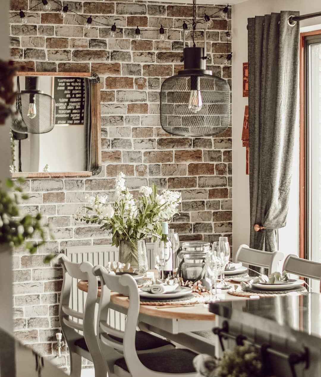 Kitchen Diner Renovation With Shaker Kitchen Cupboards And Industrial Dining Vibe Create Brick Wallpaper Dining Room Brick Wallpaper Kitchen Rustic Dining Room