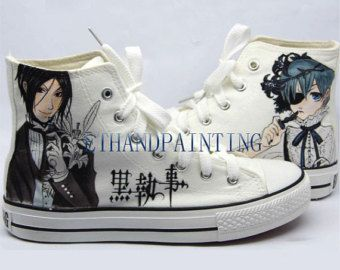 Gothic shoes · Black Butler Paint on Converse Sneakers, Hand Painting  Converse Sneakers Kuroshitsuji Sebastian Michaelis and Ciel