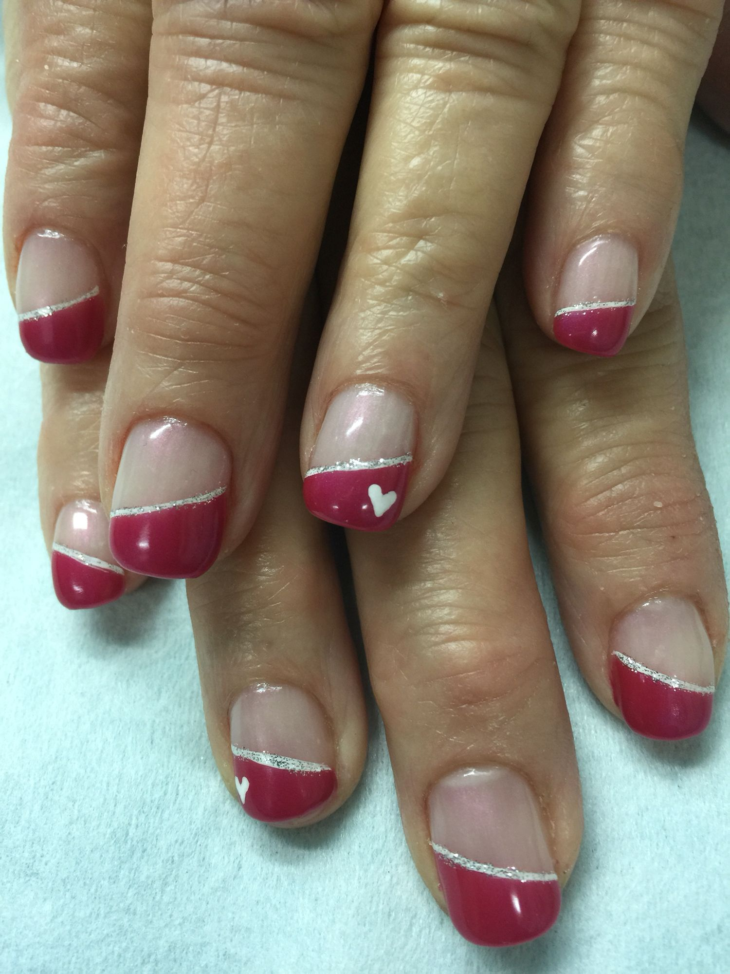 Angled French Valentine nails in OPI Pomeii Purple gel polish over ...