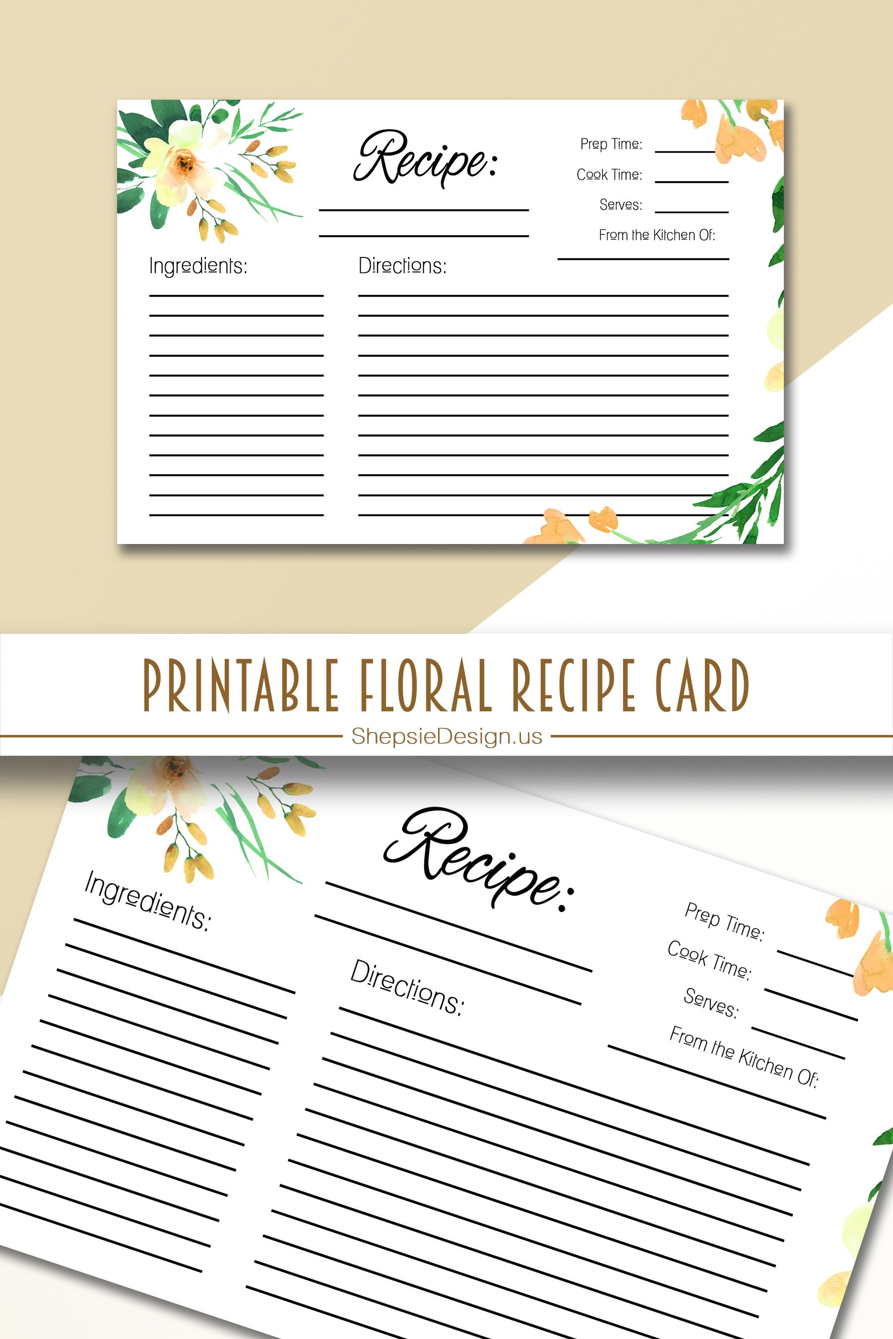 Printable Floral Recipe Card Recipe Cards Recipe Cards Template Floral Recipe Cards